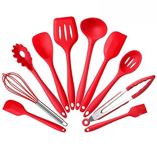 BYbrutek 10 Stück Küchenhelfer Silikon Set Enthält 2xSchaber Kochlöffel Suppenkelle Pfannenwender Spaghettikelle Servierlöffel Schneebesen Grillzange Silikon Pinsel (10 Stück Rot)