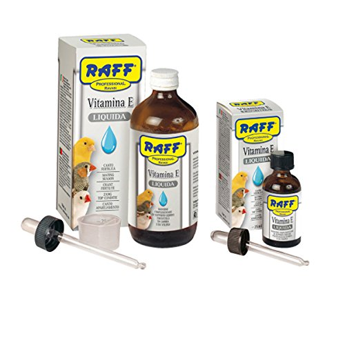 raff vitamina E liquida 25 ml per Canto e fertilita' per Uccelli da Gabbia e voliera canarini esotici cardellini pappagalli