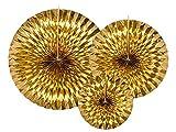 PartyDeco- Rosette Tonde di Carta, Colore Oro, RPK12-019M...