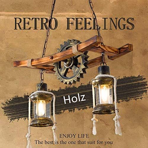 Pendelleuchte Holz Vintage Kronleuchter Höhenverstellbar E27 Leuchtmittel Hängeleuchte Glas Lampenschirm Pendelampe Industrial Retro Hängelampe Für Wohnzimmer Esstisch Küche Bar Deckenleuchte