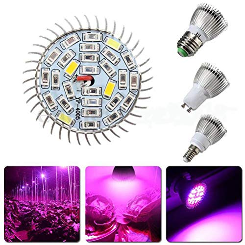 Uonlytech 2PCS Lámpara de crecimiento de plantas LED Reflector plano Foco plano E14 Luces para plantas de cultivo