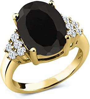 4.40 Ct Oval Black Onyx White Topaz 18K Yellow Gold Plated Silver Ring