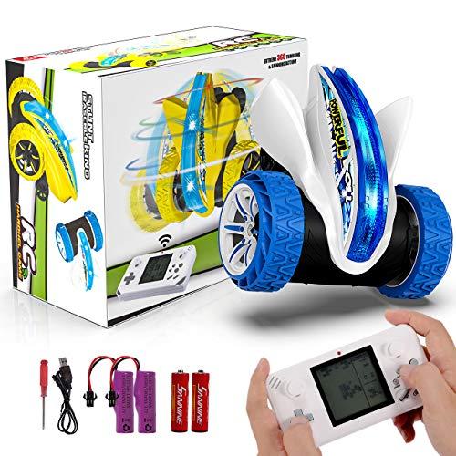 joylink Coche Teledirigido, 4WD 2.4GHz Stunt RC Coche Acrobacia Rotación Volteo de 360 ° Coche de Control Remoto Juguetes Control Remoto con 9 Tipos de Divertido Juego Regalo para Niños (Azul)