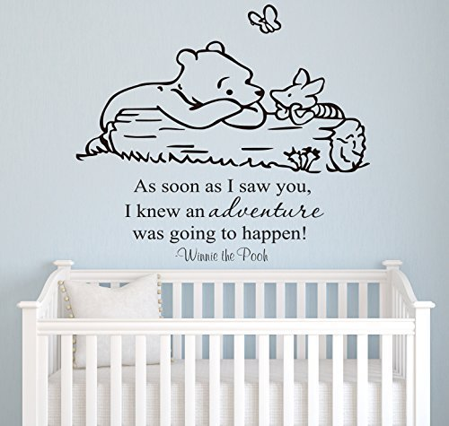 Winnie Pooh - As Soon As I Saw You Quote Baby Room Wall Decal- Decal for Baby's Room- Quote Mural Decal (Wide 22' x 26' Height)