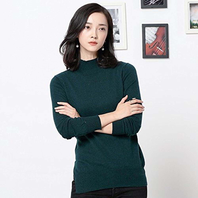 Neuer Pullover halbe Hülse Kragen dünnes dünnes dünnes Hemd Frauen Split dünn, dunkelgrün, XL B0772Y1CX1  Modisch 5c28c8