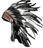 KARMABCN X01 Sombrero Indio, Penacho, Tocado de Plumas de Color Blanco y Negro con Pelo Negro