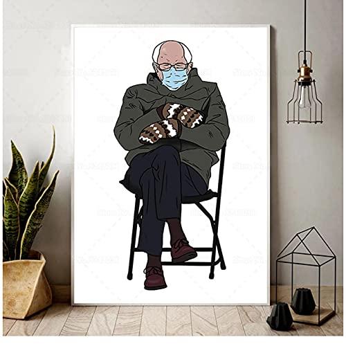SYBS Leinwand Malerei Kunst Bernie Sanders Handschuhe Eröffnungstag Poster Bernie Leinwand Malerei Wandkunst Dekor-32x42 Zoll (80x105cm) Kein Rahmen