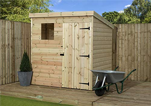 EMS Retail 5X3 GARDEN SHED SHIPLAP PENT ROOF TANALISED WINDOW PRESSURE TREATED DOOR RIGHT