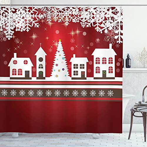 ABAKUHAUS Weihnachten Duschvorhang, Winter-Thema-Baum, Waschbar & Leicht zu pflegen mit 12 Haken Hochwertiger Druck Farbfest Langhaltig, 175 x 200 cm, Rot-weiß