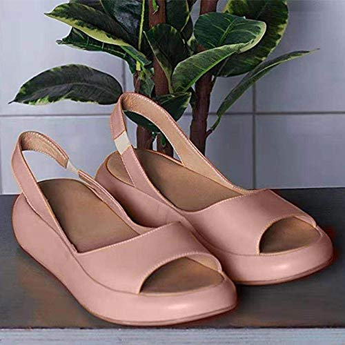 AKQITHJK Women'S Sandals,Pink Platform Fashion Elastic Band Anti-Slip Women Slippers Soft Comfortable Home High Heels Sandals Outdoor Beach Travel Casual Shoes-36