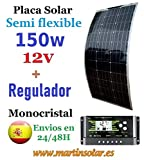 Kit Placa Panel Solar 150w 12v Semi Flexible monocristal + regulador pwm