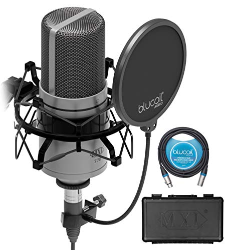 MXL 770 Cardioid Condenser Microphone for Piano, Guitar, String Instruments, and Vocal Recording (Silver) Bundle with Blucoil 10-FT Balanced XLR Cable, and Pop Filter Windscreen