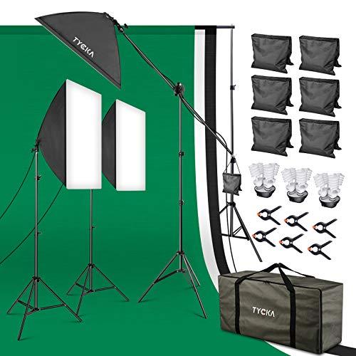 TYCKA Fotostudio Set 4-in-1 Lampenfassung Studio Softbox Fotografie mit Hintergrund Stützsystem, 3 Stück 2x3M Hintergrundstoff 12 Stück 5500K Glühbirnen für Fotostudio Porträt Produkt Video Fotografie