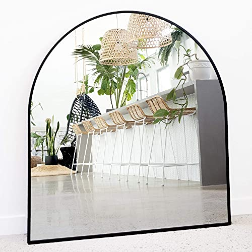 """Arched Mirror, 33"""" x 31"""" Inches - Black Frame Mirror for Wall Decor - Explosion-Proof Distortion-Free Modern Oval Mirrors, Perfect for Bathroom, Bedroom, Living Room - Elegant, Minimalist Design"""