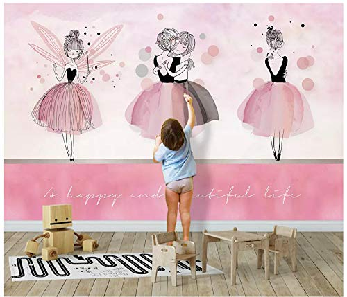 Fototapeten Wand Tapete Schlafzimmernordic Ins Pinke Ballerina-Mädchenwand, 200 X 140 Cm (78,7 X 55,1 Zoll)