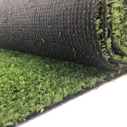 Carpeto Rugs Kunstrasen Rasenteppich für Garten Balkone Terrassen Wintergärten - Höhe: 7 mm Meterware Wasserdurchlässig 133 x 600 cm Grün