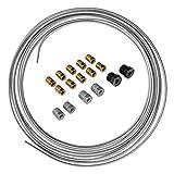 4LIFETIMELINES Galvanized Steel Brake Line, Fuel, Transmission Line Tubing Coil and Fitting Kit - 3/16 Inch, 25 Feet