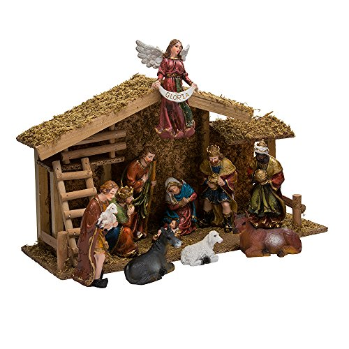 Kurt Adler 12-Piece Nativity Set with Wooden Stable