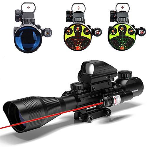 UUQ 4-12X50 Rifle Scope Red &Green Illuminated Range Finder