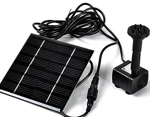 Sunnytech Solar Power Water Pump - Garden Fountain Pool Watering Pond Pump Pool Aquarium Fish Tank with Separate Solar Panel and 3M Long Cable & 4 Sprayer Adapters(Black)