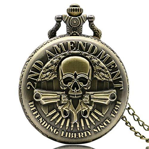 WYZQ Reloj de Bolsillo para Hombre 2da Enmienda Reloj de Bolsillo de Cuarzo Estilo Calavera Vintage Collar Regalos para Hombre, Reloj de Bolsillo