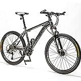 BNMKL Mountain Bike Unisex, 24/26/27,5 Pulgadas 21/24/24/30 Velocidad Bicicleta De Velocidad para Adultos, Frenos De Doble Disco,Rueda De Radios Bicicleta Plegable Adulto,Gris,27.5 Inch 21 Speed