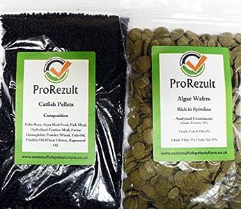 PROREZULT 6 % Espirulina algas obleas 200 g más plexiglás de plexiglás de Cichlid Catfish Pellets 200 g. Pack de cada alimento Gran valor. Alimento para algas y parte inferior de pescado