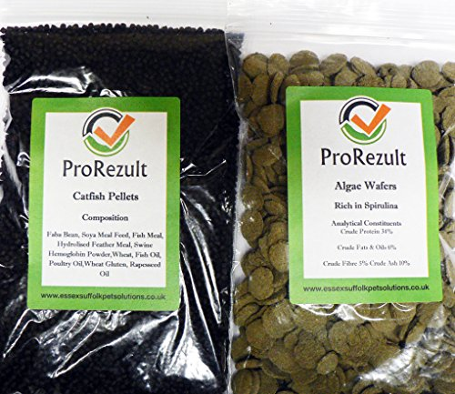 Prorezult 6% Spirulina alghe wafer 200g Plus Pleco Cichlid Catfish Pellets 200g. Confezione di ogni cucina. Ottimo valore. Gyrinocheilidae e fondo Feeding Fish
