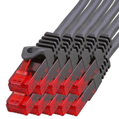 BIGtec - 10 Stück - 2m Gigabit Netzwerkkabel Patchkabel Ethernet LAN DSL Patch Kabel schwarz (2X RJ-45 Anschluß, CAT.5e, kompatibel zu CAT.6 CAT.6a CAT.7) 2 Meter