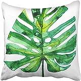 SSHELEY Dekokissen Hüllen Handbemalte Tropische Palmblätter auf pflanzlichen Monstera Aloha...