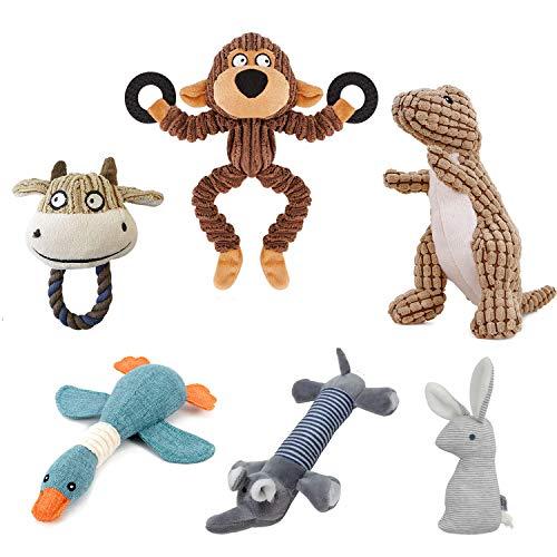 Hcpet Pack de 6 Squeaky Juguetes de Perros, Juguetes con Sonido para Perros - Mono, Dinosaurio, Ganso Salvaje, Conejo, Elefante y Toro