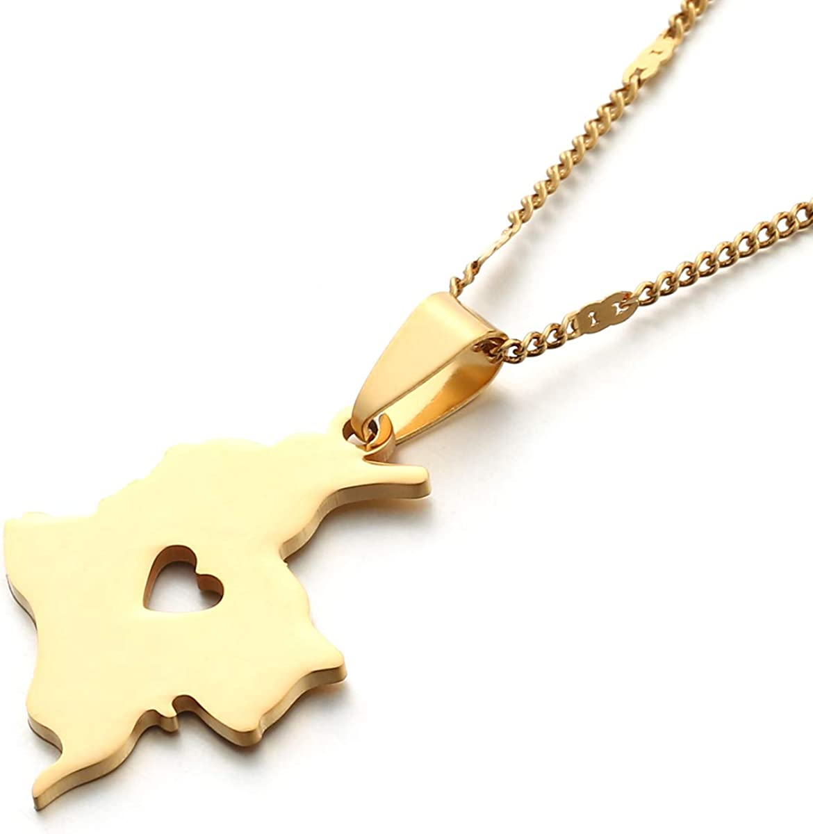 Stainless Steel Colombia Map Pendant Necklace Colombian Map Jewelry