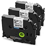 brother 3 4 inch tz tape - Anycolor Compatible Label Tape Replacement for Brother Ptouch TZe Tape 12mm 0.47 Inch Laminated White TZe-231 TZ-231 Work with Brother P-touch PT-D210 PT-D400AD PT-H110 Label Maker, 26.2 Feet, 3-Pack