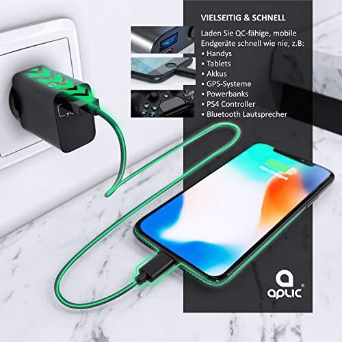 CSL - USB Ladegerät 18W Quick Charge 3.0 - Netzteil mit Schnellladefunktion - Smart Charge Solid Charge intelligentes Laden - geeignet für Handys Smartphones Navis Tablets UVM. - schwarz