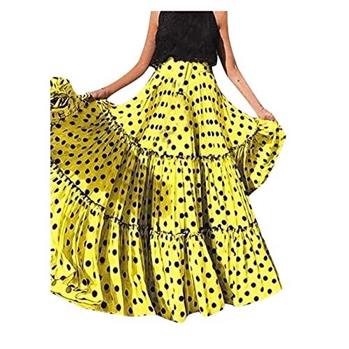 Feng Dong Fen Moda de Mujer Polka Dot Impresa Falda Plisada Bohemia Casifón Casifón Alta Cintura Suelta Rujos Rujos Falda Falda (Color : Yellow, Size : M)