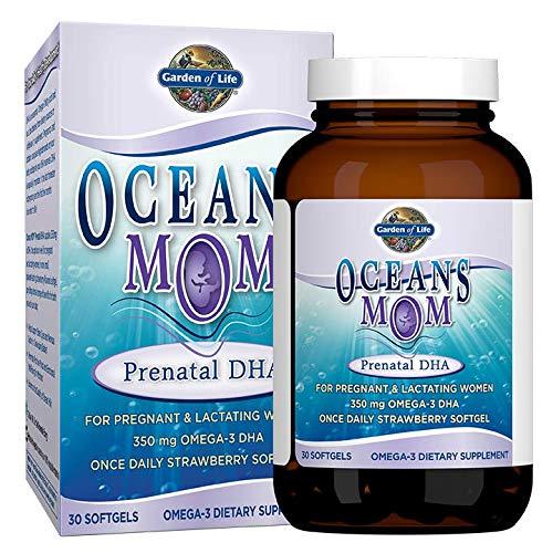 Garden of Life Oceans Mom Prenatal Fish Oil Dha, Omega 3 Fish Oil Supplement - Strawberry, 350Mg Prenatal Dha, Pregnancy Fish Oil Support For Moms Mood And Babys Brain & Eye Development, 30 Softgels