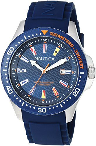 Nautica Men's Jones Beach Collection Japanese-Quartz Watch with Silicone Strap, Blue, 21.5 (Model: NAPJBC002)