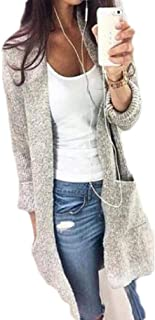 Macondoo Womens Casual Open Front Sweater Knitwear Pocket Long Sleeve Cardigan