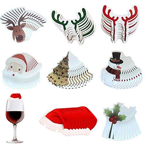 Feelava Tarjetas de Copa de Navidad,Paquete de 80 Decoraciones de Tarjeta de Copa de Vino de Navidad, árbol de...