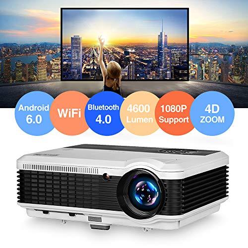 Proiettore LCD Bluetooth Home Cinema HDMI USB VGA Supporto Full HD 1080P 4600lumen LED WiFi Smart Movie Proiettore con Zoom Altoparlanti incorporati per esterni Video Proyector