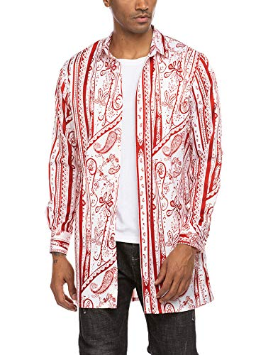 MAXMODA – Camisa de manga larga para hombre con estampado de cachemira, corte regular