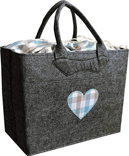 Filztasche grau mit Herz türkis blau Trachtentasche 38x20 cm