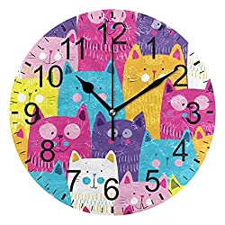 LUCASE LEMON ALEX Cute Cartoon Colorful Cats Kitty Round Acrylic Wall Clock Non Ticking Silent Clocks for Home Decor Living Room Kitchen Bedroom Office School