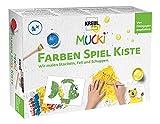 Kreul 29102 - Mucki Fingermalfarbe, Farben Spiel Kiste, Wir malen Stacheln, Fell und Schuppen, Lern- und Spielset, 5 x 50 ml Fingerfarbe, 2 kleine Dosen, 12...