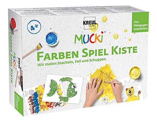 Kreul 29102 - Mucki Fingermalfarbe, Farben Spiel Kiste, Wir malen Stacheln, Fell und Schuppen, Lern- und Spielset, 5 x 50 ml Fingerfarbe, 2 kleine Dosen, 12 Malvorlagen sowie Malwerkzeuge