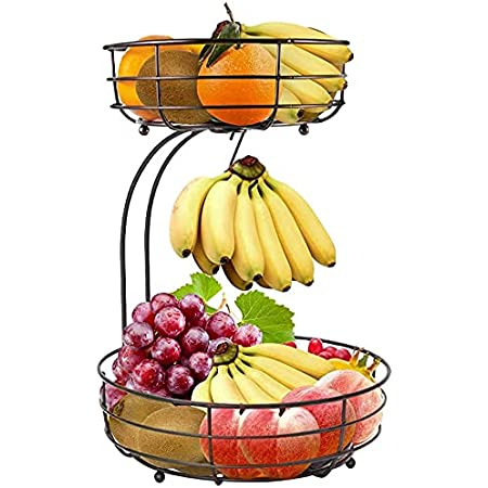 Corbeille à fruits à 2 étages avec arceau de banane, plan de travail en métal pour garder les fruits et légumes frais (bronze)