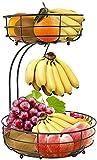 Lekind Frutero de 2 niveles, soporte para plátanos, frutero, cuenco de metal para más espacio en la encimera, soportes con fruteros, cesta decorativa (bronce)