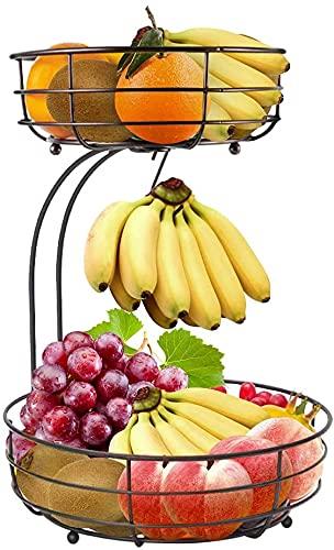 Lekind Corbeille à fruits à 2 étages - Support pour bananes, fruits - En métal - Pour plus de place sur le plan de travail - Avec coupes à fruits - Corbeille à fruits décorative (bronze)