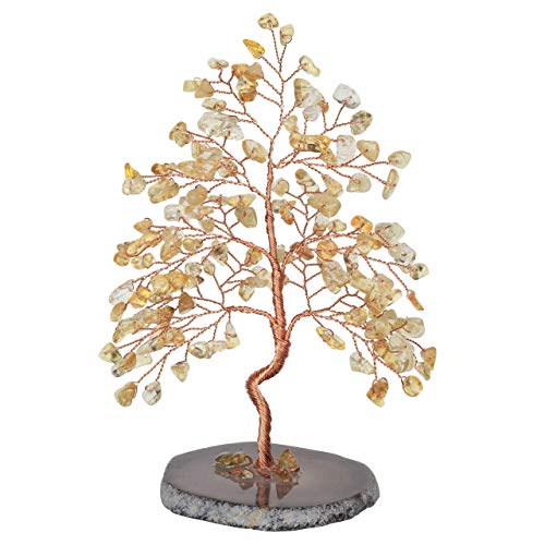 CrystalTears Natural Citrine Crystal Money Tree Feng Shui Crystal Tree Sculpture Figurine Healing Gemstone Tree Of Life Ornament with Agate Slice Geode Stand For Healing Home Decoration 5.5'-6.3'