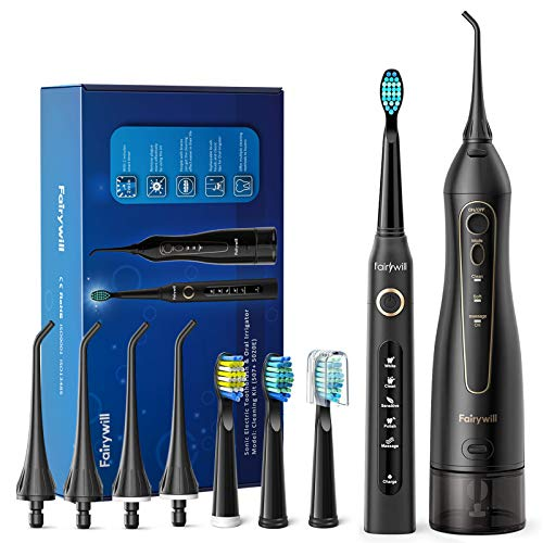 Water Flosser and Toothbrush Combo, Fairywill Teeth Cleaner Set, 4 Hours Charge for 30 Days Use, 5...